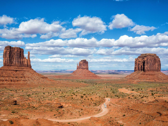 Monument Valley with blue sky in Arizona