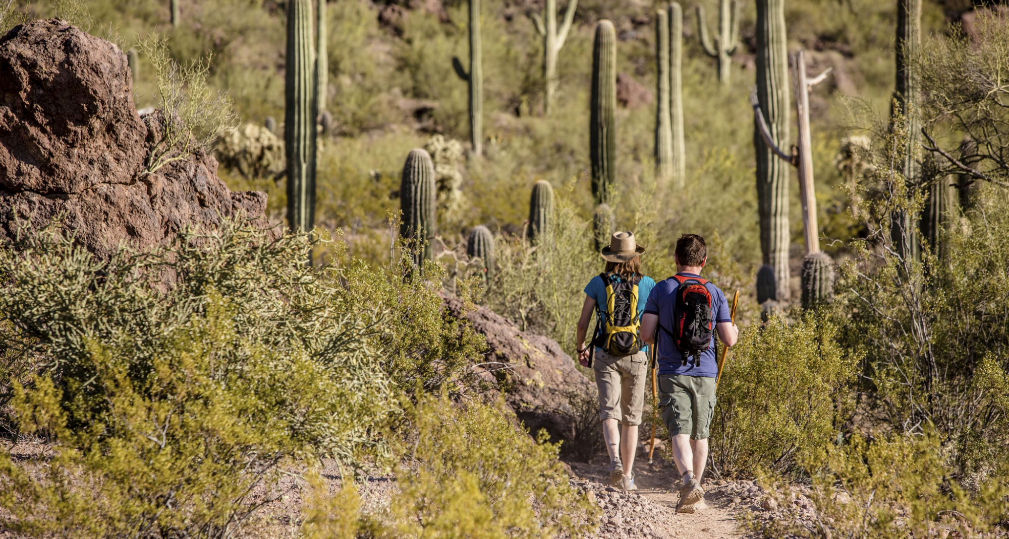 two people hiking in the Arizona desert